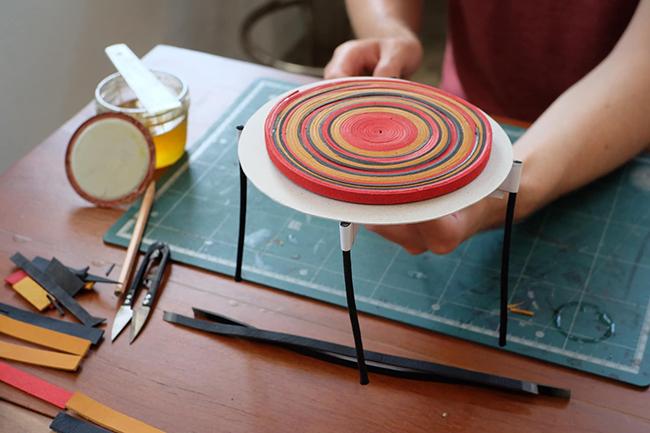 maquette table plateau cuir multicolore